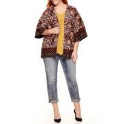 Liz Claiborne® Print Kimono, Embroidered-Hem Top or Boyfriend Jeans - Plus