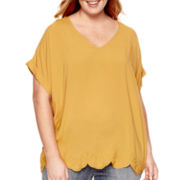 Liz Claiborne® Short-Sleeve Embroidered-Hem Top - Plus