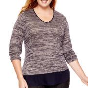 Liz Claiborne® Long-Sleeve V-Neck Marled Layered Top - Plus