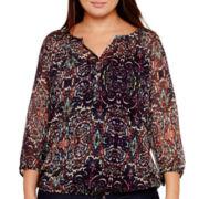 Liz Claiborne® 3/4-Sleeve Paisley Peasant Blouse - Plus