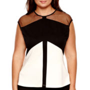 Worthington® Short-Sleeve Colorblock Lace Peplum Blouse - Plus
