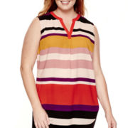 Liz Claiborne® Split-Neck High-Low Tank Top - Plus Size