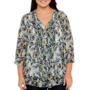 Liz Claiborne® 3/4-Sleeve Pleat-Front Wide-Sleeve Blouse - Plus