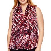 Liz Claiborne® Print V-Neck Tank Top - Plus