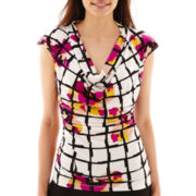 Worthington® Ruched-Side Cowlneck Shirt - Petite