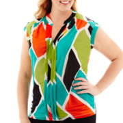 Worthington® Pleat-Front Y-Neck Top - Plus