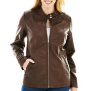 a.n.a® Classic Scuba Faux-Leather Jacket - Plus