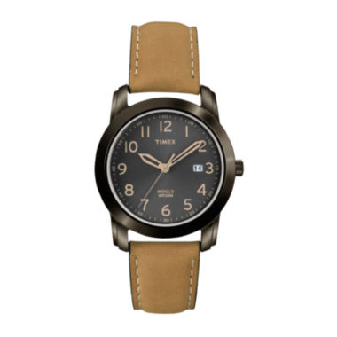 jcpenney.com | Timex® Mens Leather-Strap Brown Retro Watch