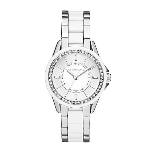 Liz Claiborne® Womens Silver-Tone & White Crystal-Accent Watch