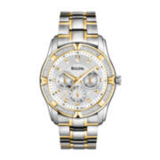 Bulova Mens Two-Tone Diamond-Accent Multifunction Watch