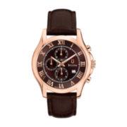 Bulova® Mens Rose-Tone Strap Chronograph Watch