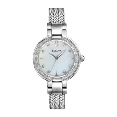 jcpenney.com | Bulova® Womens Silver-Tone Diamond-Accent Watch 96R177