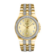 Bulova® Womens Gold-Tone Crystal-Accent Bracelet Watch