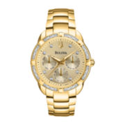 Bulova® Womens Gold-Tone Diamond-Accent Chronograph Watch