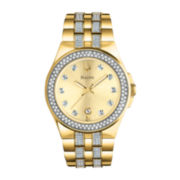Bulova Mens Gold-Tone Crystal-Accent Watch