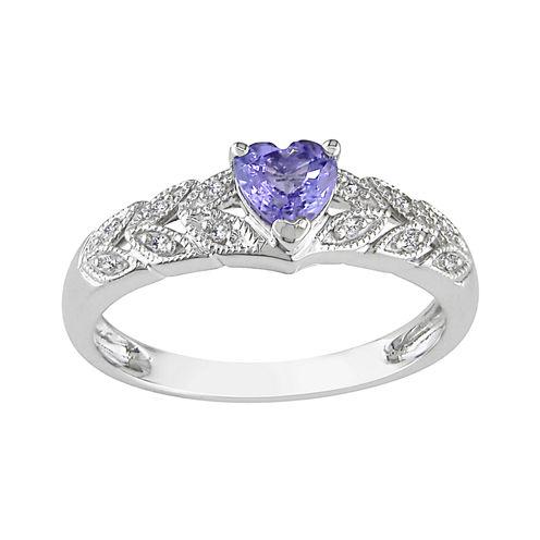 Tanzanite Heart & Diamond Accent Ring 10K Gold