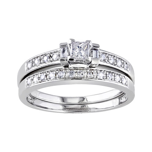 ⅓ CT. T.W. Diamond Sterling Silver Bridal Ring Set