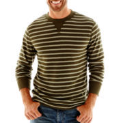 St. John's Bay® Striped Thermal Crewneck