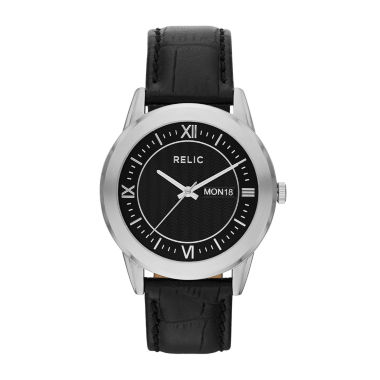 jcpenney.com | Relic® Mens Silver-Tone Black Leather Strap Watch ZR77267
