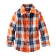 OshKosh B'gosh® Button-Front Plaid Woven Shirt – Boys 4-7
