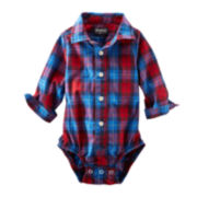 OshKosh B'gosh® Button-Front Plaid Long-Sleeve Bodysuit – Boys 3m-24m