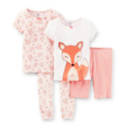 Carter's® 4-pc. Fox Pajama Set – Girls 6m-24m