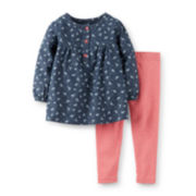 Carter's® 2-pc. Long-Sleeve Bird-Print Top and Leggings Set – Girls newborn-24m