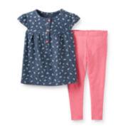 Carter's® 2-pc. Short-Sleeve Bird-Print Top and Leggings Set – Girls newborn-24m