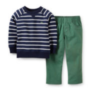 Carter's® Long-Sleeve Striped Shirt and Pants Set – Boys newborn-24m