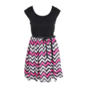 Pinky Chevron Print Chiffon Dress - Girls 6-16