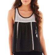 Olsenboye® Sleeveless Polka Dot Button-Front Blouse