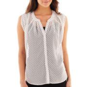 Olsenboye® Sleeveless Polka Dot Button-Front Blouse
