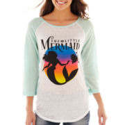 Disney 3/4-Sleeve Little Mermaid Graphic Raglan Tee