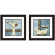 Blue and Brown Bath Set of 2 Framed Wall Art