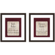 Bath Rules Set of 2 Framed Wall Art