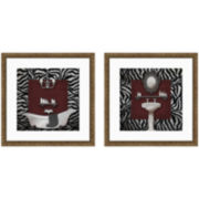 Zebra Bath Set of 2 Framed Wall Art
