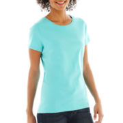 St. John's Bay® Essential Relaxed Fit Short-Sleeve Crewneck Tee - Petite