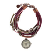 Decree® Womens Multi-Strand Cord Charm Watch