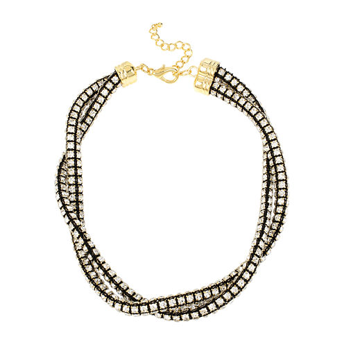 Bleu™ Crystal Two-Row Twisted Collar Necklace