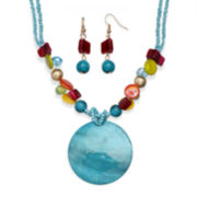 Mixit™ Multicolor Shell and Bead Earring and Necklace Set