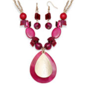 Mixit™ Pink Shell and Bead Earring and Necklace Set