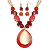 Mixit™ Orange Shell and Bead Earring and Necklace Set