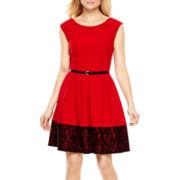 Tiana B. Cap-Sleeve Lace Hem Fit-and-Flare Dress