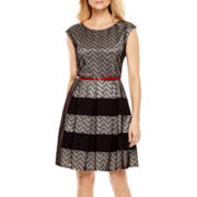 Tiana B. Cap-Sleeve Chevron Lace Fit-and-Flare Dress