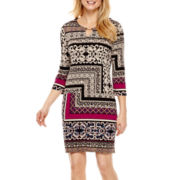 Tiana B. 3/4-Sleeve Tile Print Keyhole Knit Sheath Dress