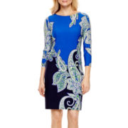 Tiana B. 3/4-Sleeve Paisley Print Shift Dress