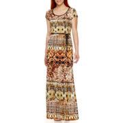Tiana B. Short-Sleeve Tribal Print Maxi Dress