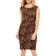 Tiana B. Sleeveless Animal Print Scuba Sheath Dress
