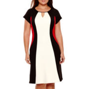 Studio 1® Short-Sleeve Colorblock Fit-and-Flare Dress - Plus