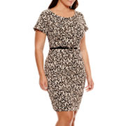 Alyx® Cap-Sleeve Animal Print Sheath Dress - Plus